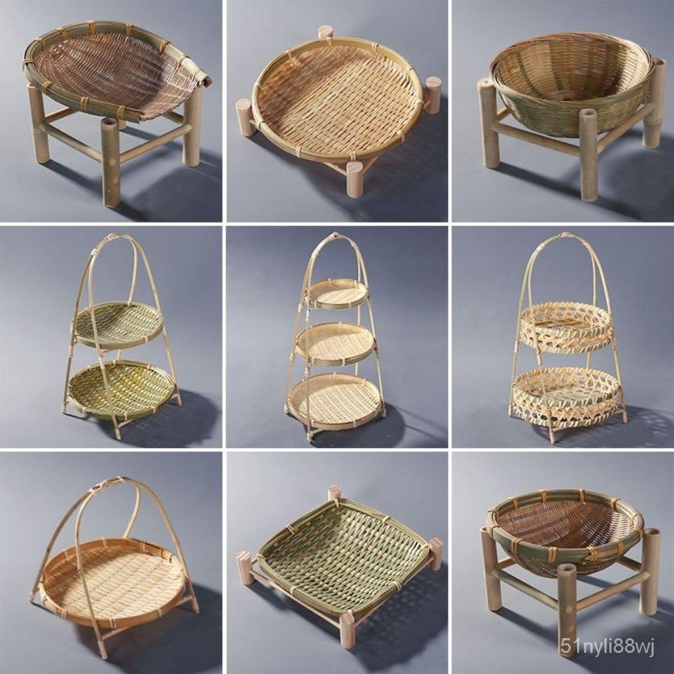 居家小舖🎉 竹編製品水果盤點心籃木架提籃乾果籃竹製收納籃子手工可盛物竹籃 5fnS