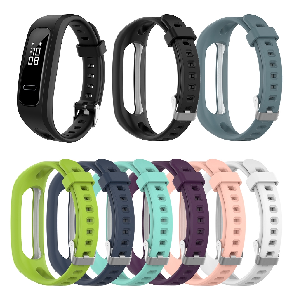 適用於華為榮耀手環 4 running版 /手環band 4E/3E通用矽膠錶帶 替換腕帶 時尚經典扣運動表帶