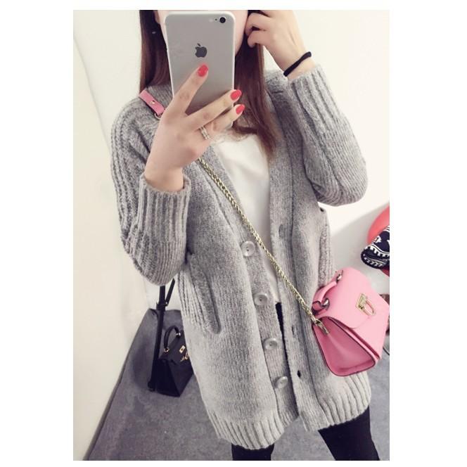 品名: 韓版秋冬款V領針織中長款加厚毛衣外套(灰色) J-13012