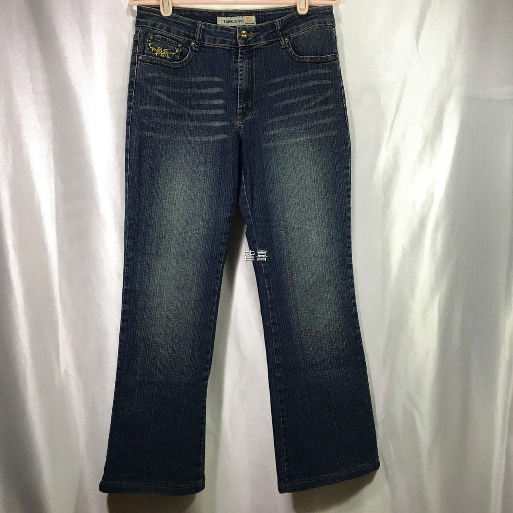 二手牛仔褲|TANK 中腰口袋藤蔓車繡抓皺寬直筒牛仔褲|彈性牛仔褲|女牛仔褲|二手八成新