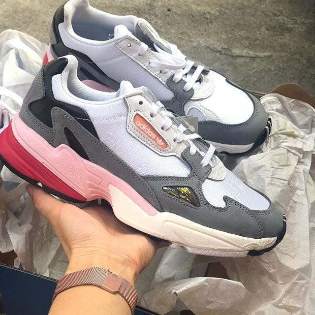 ☆ Adidas Originals Falcon cg6214 老爹鞋 愛迪達 白灰粉 麂皮 老人鞋 女鞋