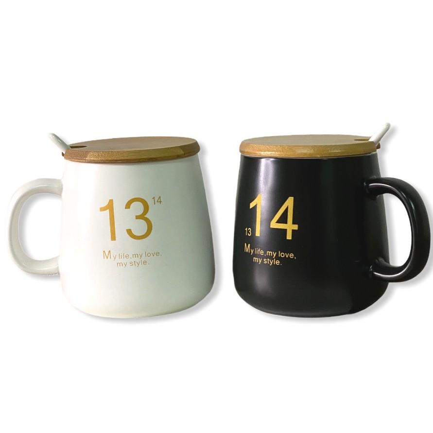 1314附蓋馬克杯【好買居家】400ml咖啡杯 泡茶杯 品茗 陶瓷杯 情侶杯 水杯 學生 生日禮物