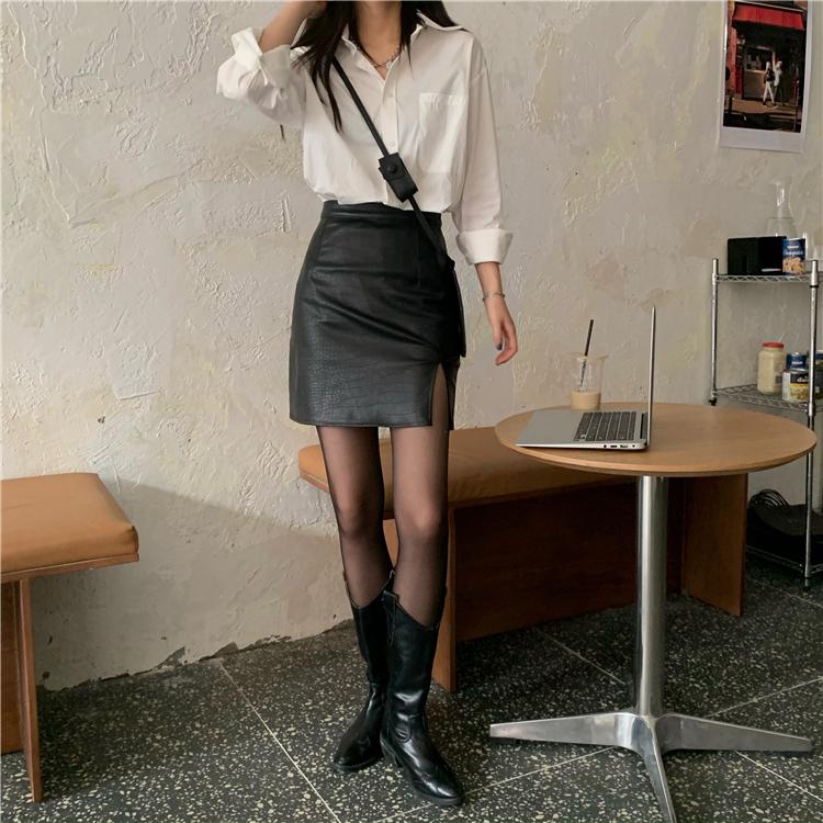 A字裙 1713097韓版氣質高腰修身開叉皮裙半身裙
