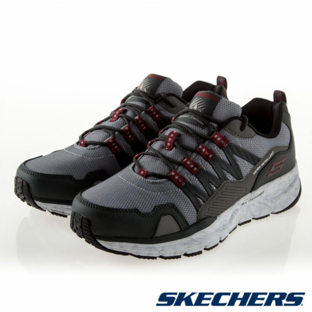 SKECHERS ESCAPE PLAN 2.0 灰紅色戶外休閒運動男鞋(51926GYRD)