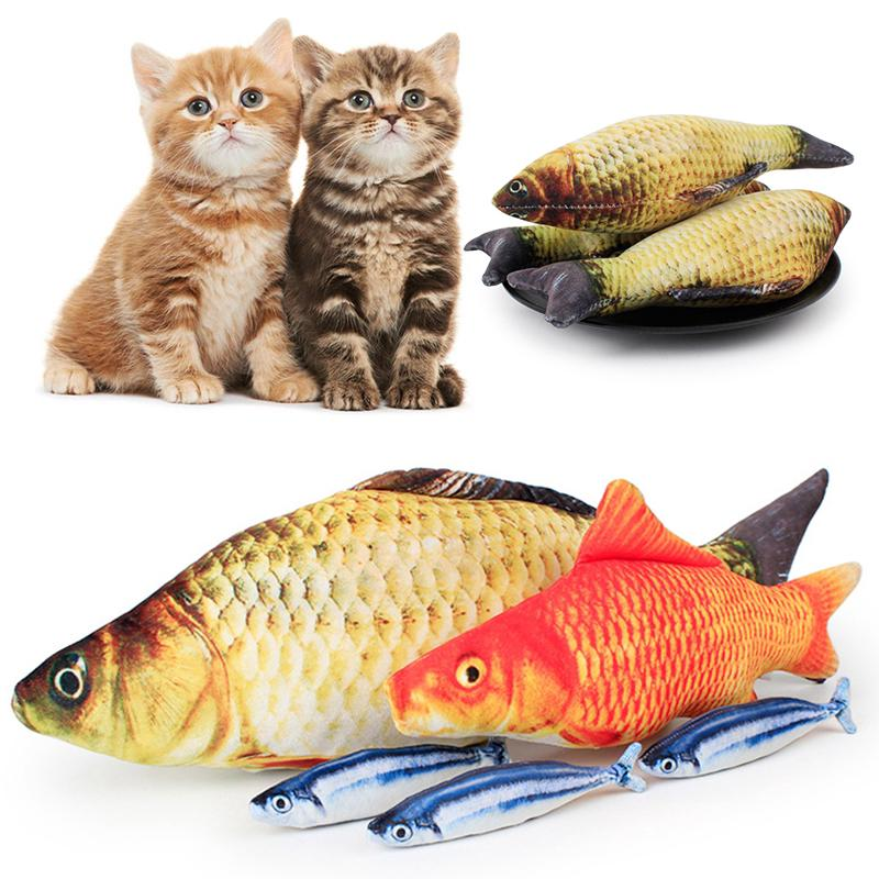 20cm趣味栩栩如生的魚形寵物玩具/ 小貓預告片仿真玩玩具/ 趣味刮貓毛絨填充魚形貓玩具/ 貓抱枕玩具