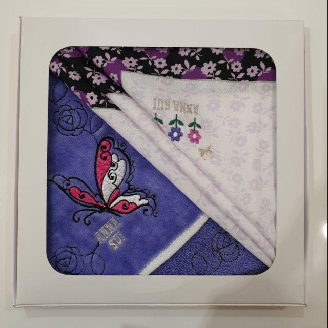 ANNA SUI安娜蘇 純棉絲質手帕禮盒(手帕+毛巾)  2019.09 日本百貨公司購入 二條組合