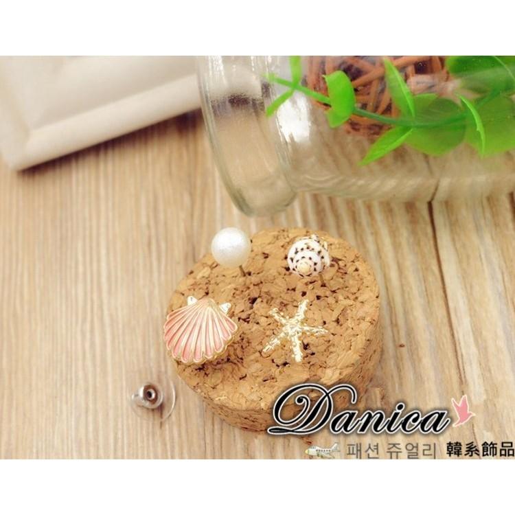 耳環 現貨 韓國氣質甜美 海洋風 珍珠 貝殼 海星 海螺 4件組 耳環K91820-7 批發價 Danica 韓系飾品