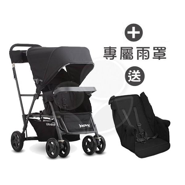 【贈第二座椅】Joovy Caboose Ultralight Graphite 新款輕量級雙人推車(藍)+雨罩