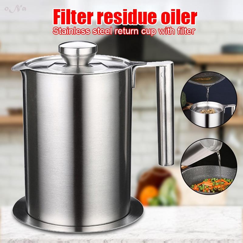 N · 走。不銹鋼廚房烹飪油濾鍋湯油脂過濾器分離器大容量