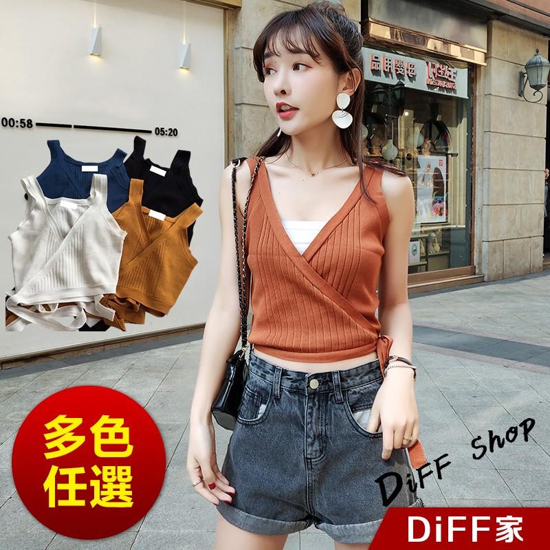 【DIFF】網紅同款韓版側邊綁帶針織背心 小可愛 素T 素色 T恤 寬鬆上衣 短袖上衣 女裝 衣服【V75】