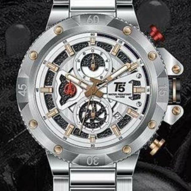 台灣出貨 限時特賣正品美國潮牌T5 sports time多功能手錶 不鏽鋼錶帶男錶防水計時石英表3705A銀帶白面
