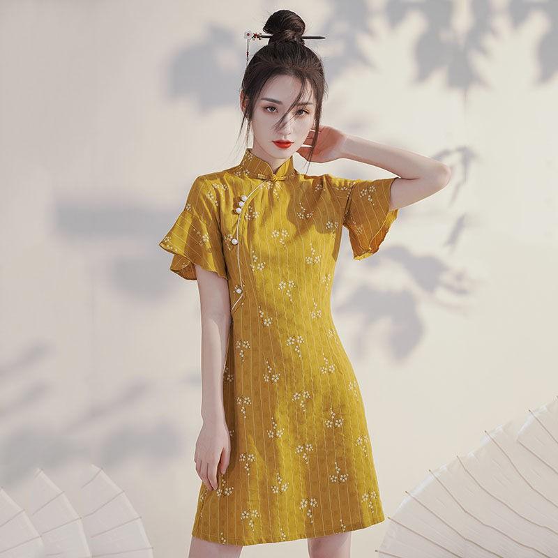黃色改良版旗袍2021年新款夏季中國風少女年輕款小個子法式連衣裙