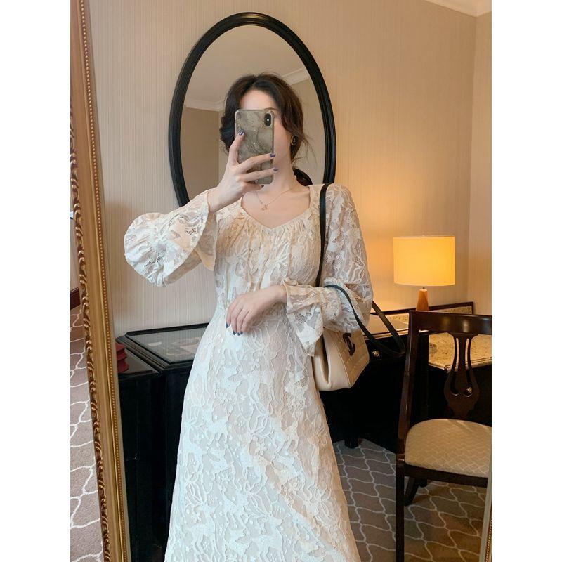 夏季新款杏長袖刺繡蕾絲女士長裙2020上衣