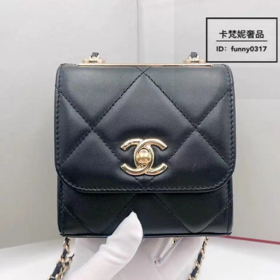卡梵妮奢品 CHANEL 香奈兒 trendy cc mini 菱格 黑金小方包 鏈條包 單肩包 斜背包 A81633