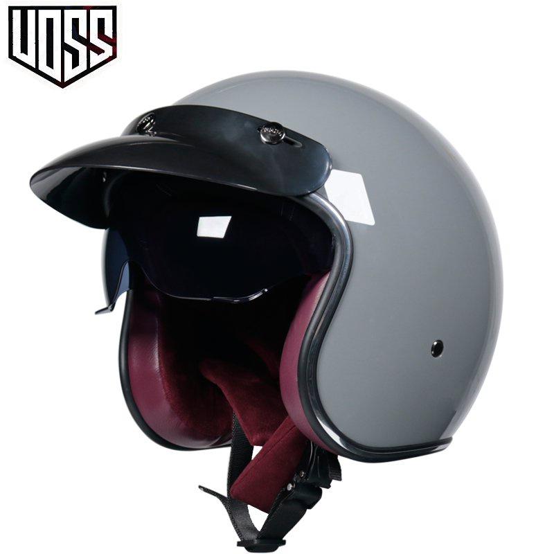 【正品】VOSS復古哈雷安全帽男女半盔踏板安全帽半覆式帽子3/4盔個性酷#現貨