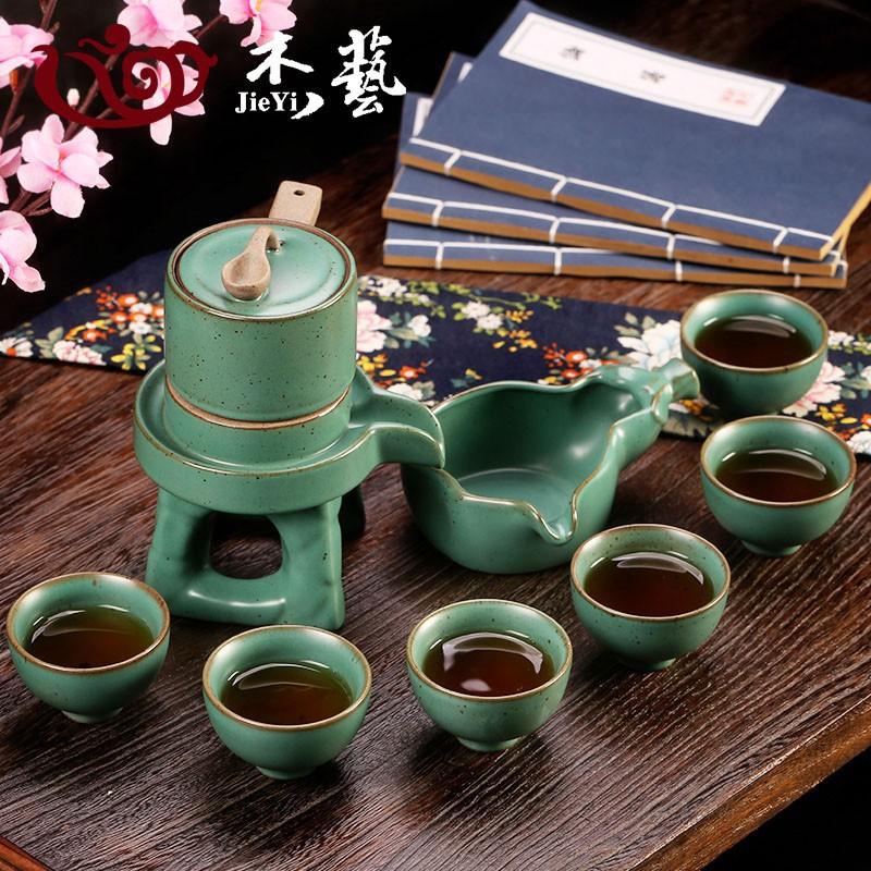 (重) 全場下殺 半全自動茶具套裝 陶瓷家用懶人泡茶器功夫茶具石磨整套流水茶壺