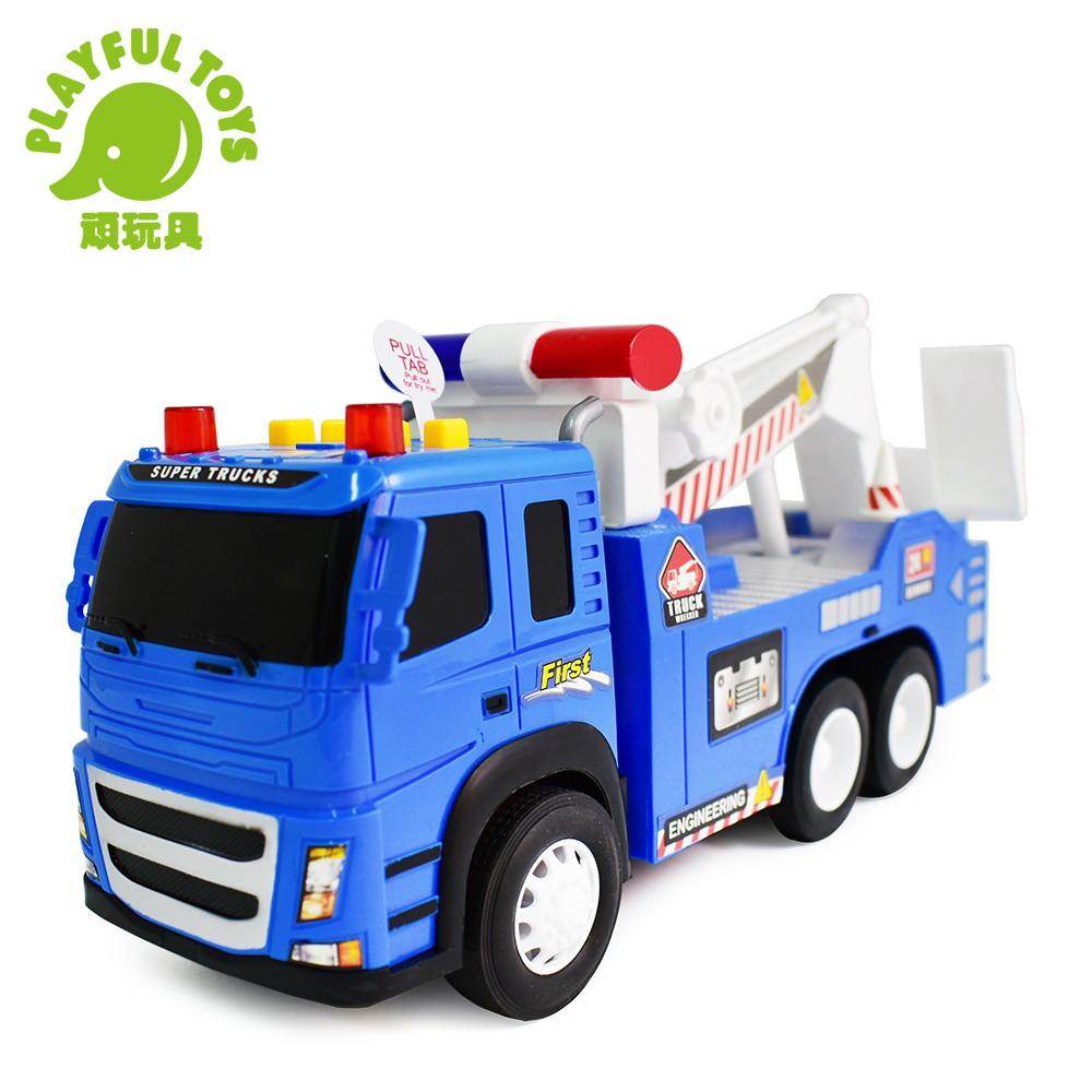 【Playful Toys 頑玩具】聲光道路救援車(玩具車 模型車 拖吊車 男孩兒童玩具 聲光玩具 經典車款)