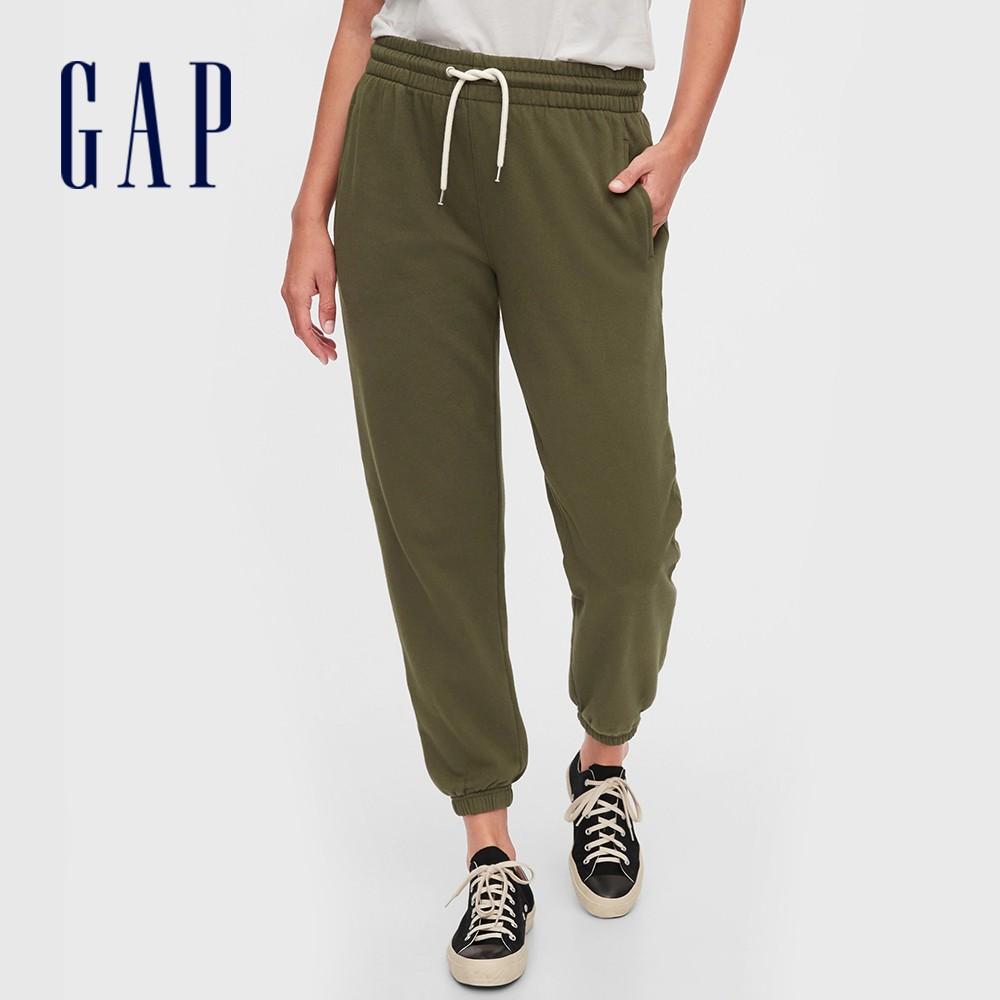 Gap 女裝 簡約風格鬆緊針織休閒褲 544841-橄欖綠