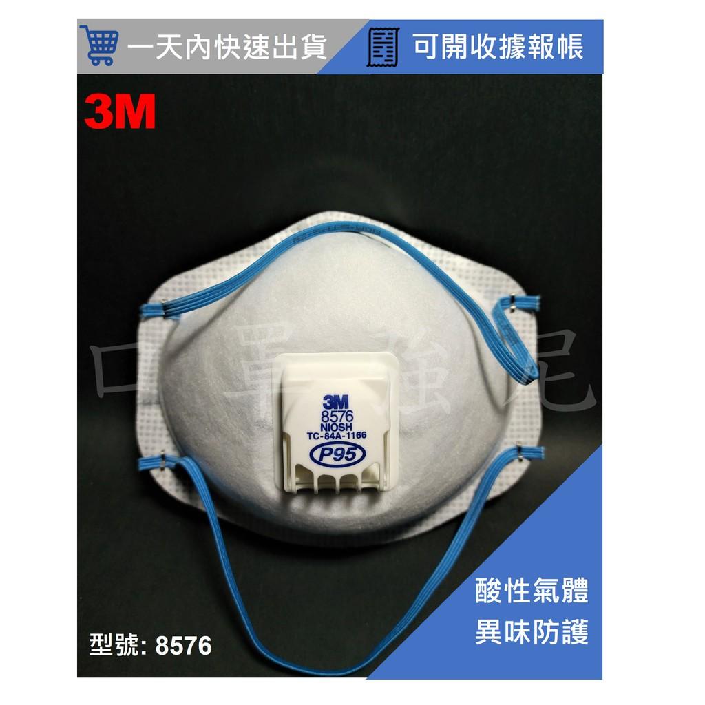 【口罩強尼】【P95等級】3M口罩 8576 頭戴式碗型防護口罩_呼吸閥款(酸性氣體、農藥、有機溶劑、厭惡粉塵、油煙等)