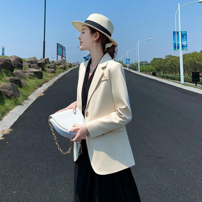 新品促銷寬松垂感西裝外套女韓版英倫風中長款2020年春秋季黑色小西服上衣1