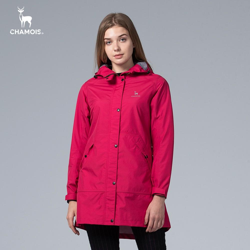 【Chamois加摩仕】Damas-Tex達美斯特 防水透氣修身長版風衣外套 (玫紅色)