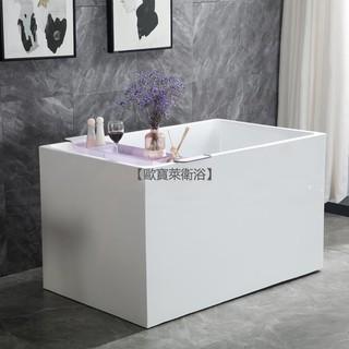 【歐寶萊衛浴】 小浴缸家用小戶型日式深泡亞克力獨立一體式可移動坐式超迷你方缸 臺中市