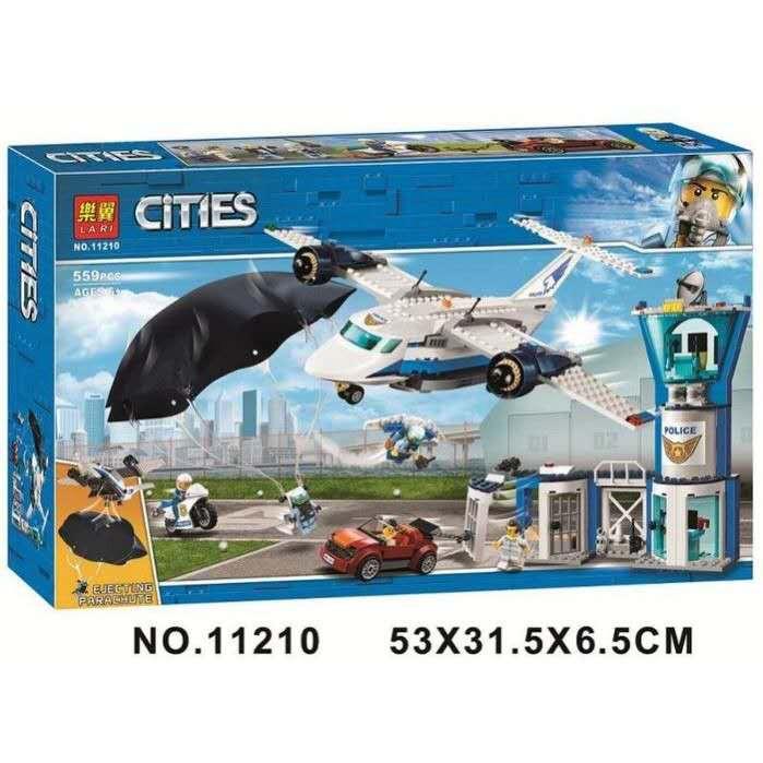 【現貨】博樂11210城市警察系列 空中基地指揮中心 跳傘特警 飛機模型 兼容樂高 非lego60210益智積木玩具禮物