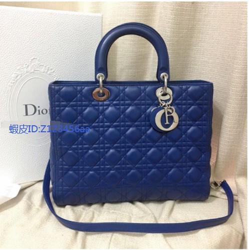 翰辰二手正品95新  Dior(迪奧) 七格 黛妃包 深藍二用 背帶 系列 肩背 手提