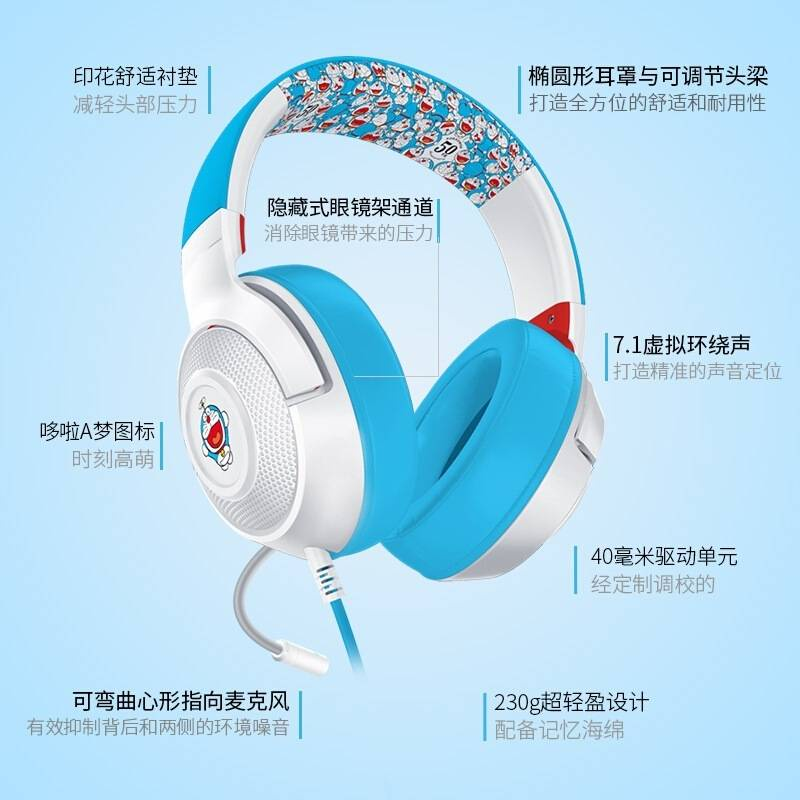 🌸雷蛇Razer北海巨妖X耳機哆啦A夢頭戴式7.1環繞遊戲耳麥適用電競🌸
