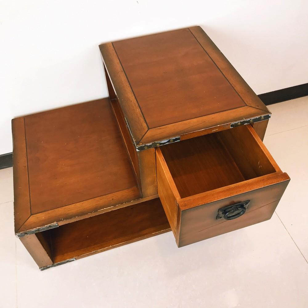 義大利 櫻桃木矮櫃 收納櫃 抽屜櫃 邊櫃 音響櫃 邊桌穿鞋椅腳蹬二手階梯櫃 工業風 歐洲進口 實木 歐式老古董櫃