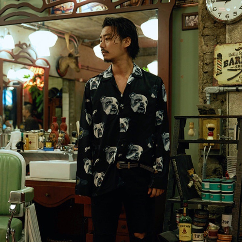 【GOZER Taiwan】BULL DOG SHIRT 鬥牛犬長袖襯衫 - 黑