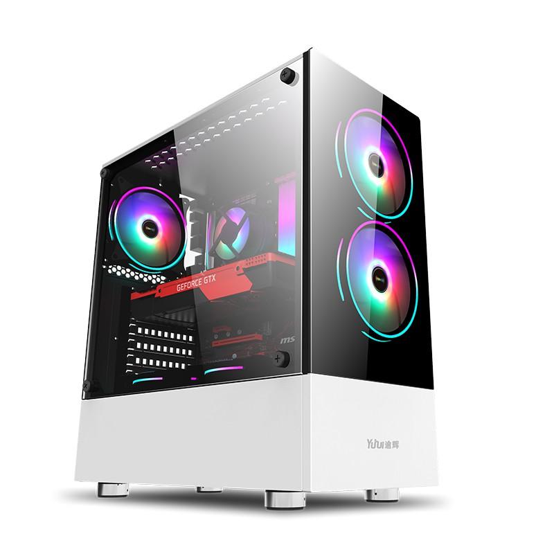 📣爆款免運 電腦主機殼 先馬逾輝清風 白色粉色機箱 少女電競台式機 電腦遊戲機殼 玻璃大側透
