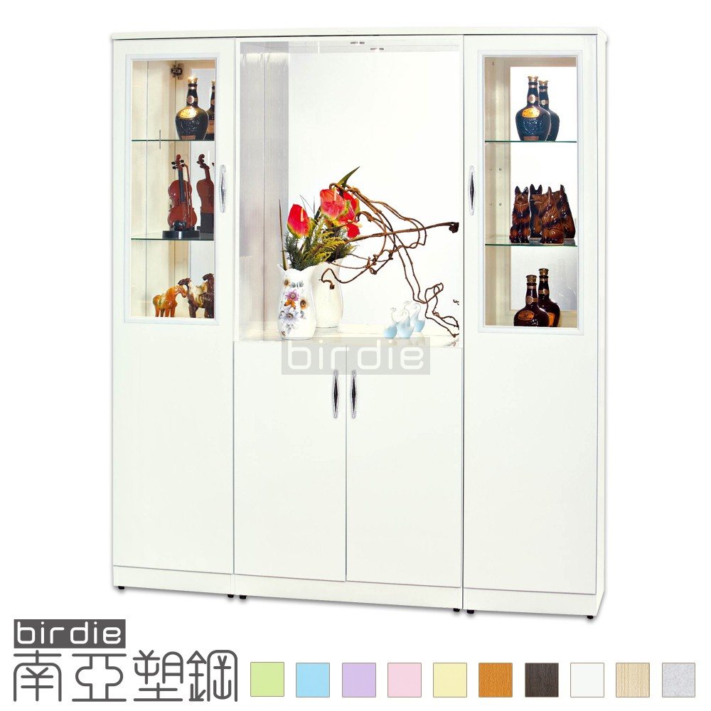【Birdie南亞塑鋼】5.7尺玻璃展示雙面玄關櫃/四開門塑鋼收納櫃/防水鞋櫃 (17G7LR05215528)