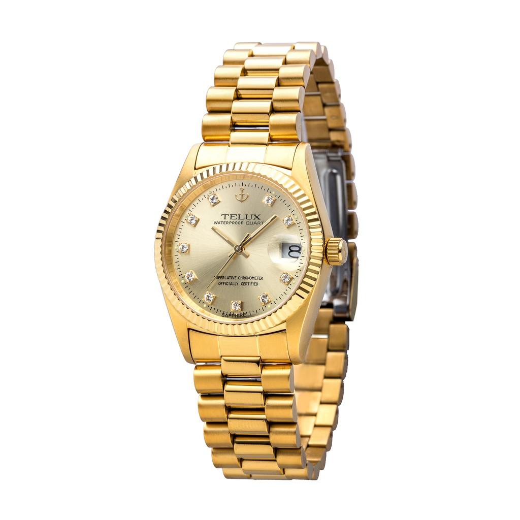 [缺貨中]台灣品牌手錶腕錶【TELUX鐵力士】尊爵系列經典男腕錶手錶36mm另有女款台灣製造石英錶金錶7910G-G02