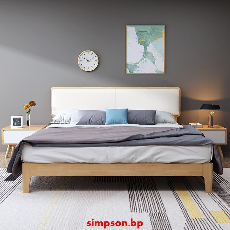 【現貨】北歐風格實木床現代簡約1.8米雙人1.5米單人床婚床主臥床臥室家具