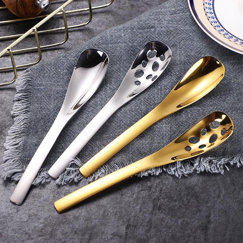 🔥ALE現貨好物🔥304不銹鋼甜品勺創意咖啡勺 湯匙 漏勺 不銹鋼湯匙 方柄小茶匙鹽勺雪糕勺