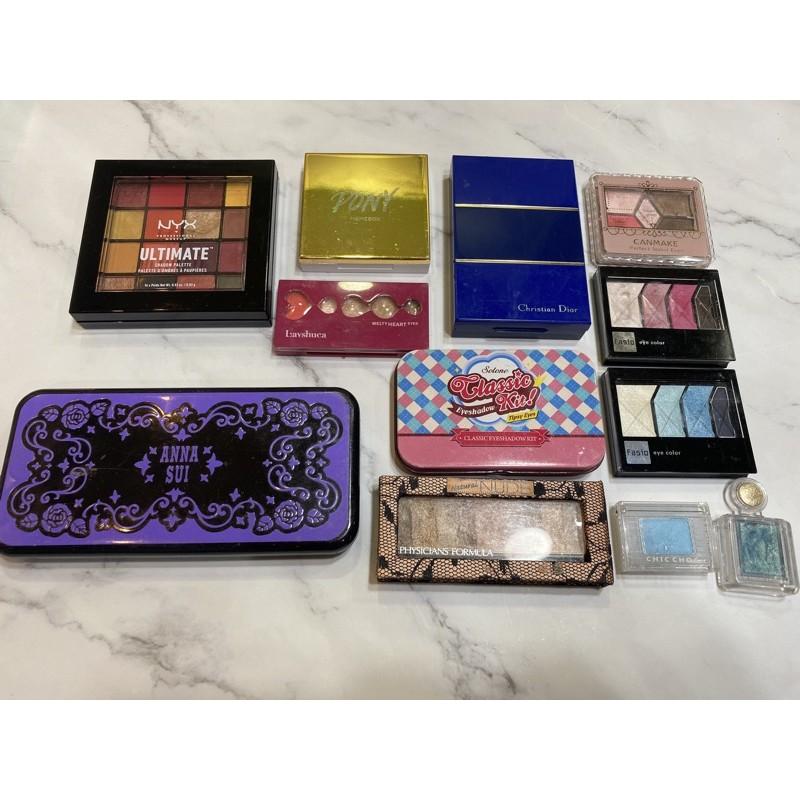 [12盒眼影盤賠售]NYX眼影盤, Dior,ANNA SUI專櫃眼影、開架眼影(下標前請先詢問)