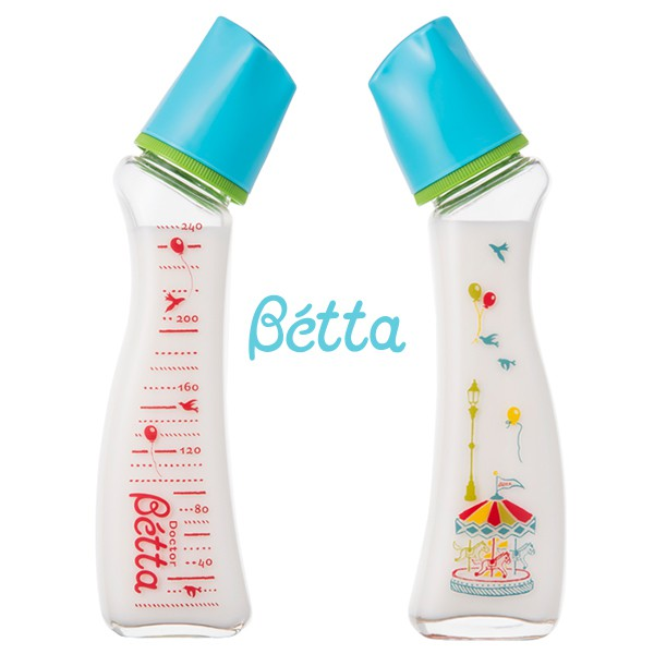 日本 Dr. Betta奶瓶 Brain G4-Carrousel / 藍色-240ml (耐熱玻璃)