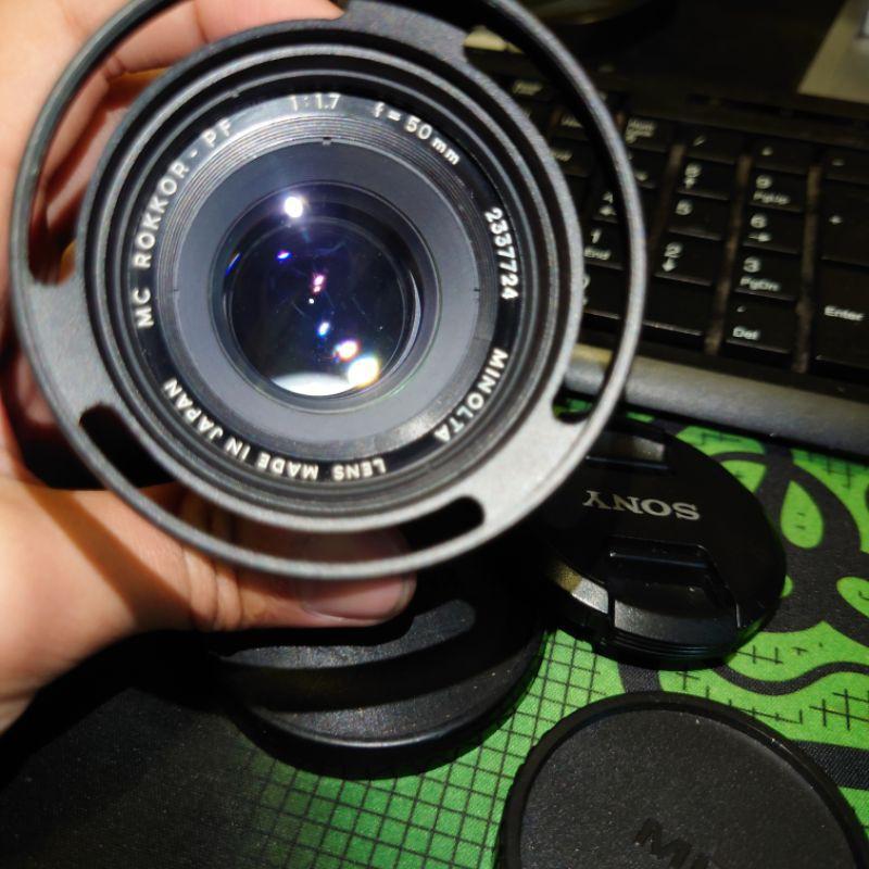 minolta MD 50mm f1.7 + sony e卡口轉接環 手動鏡頭