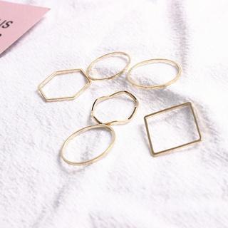 Bene 戒指套裝 6 件套簡約韓國時尚幾何形狀戒指,  適合女性女孩時尚珠寶禮物金戒指 Cincin