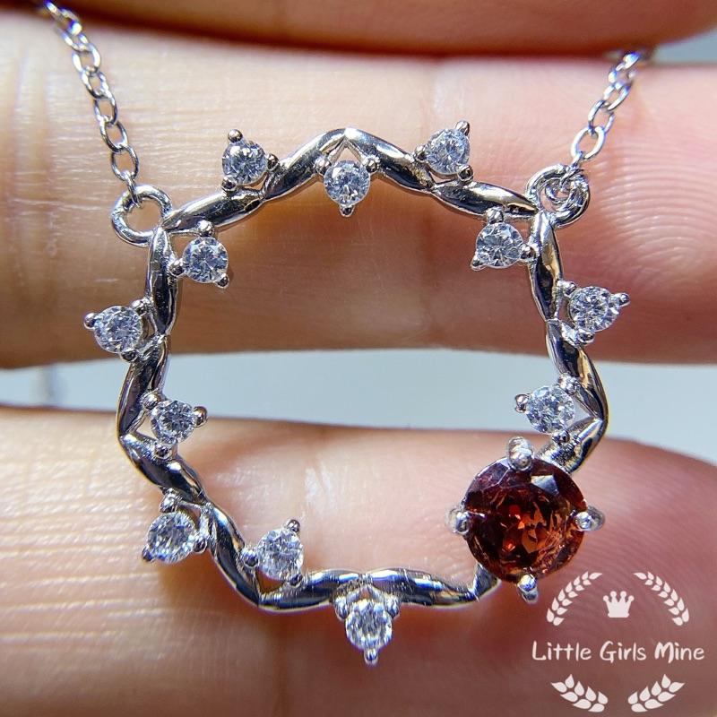 天然石-輕珠寶-春天盛宴系列-石榴石頸鍊(純銀)