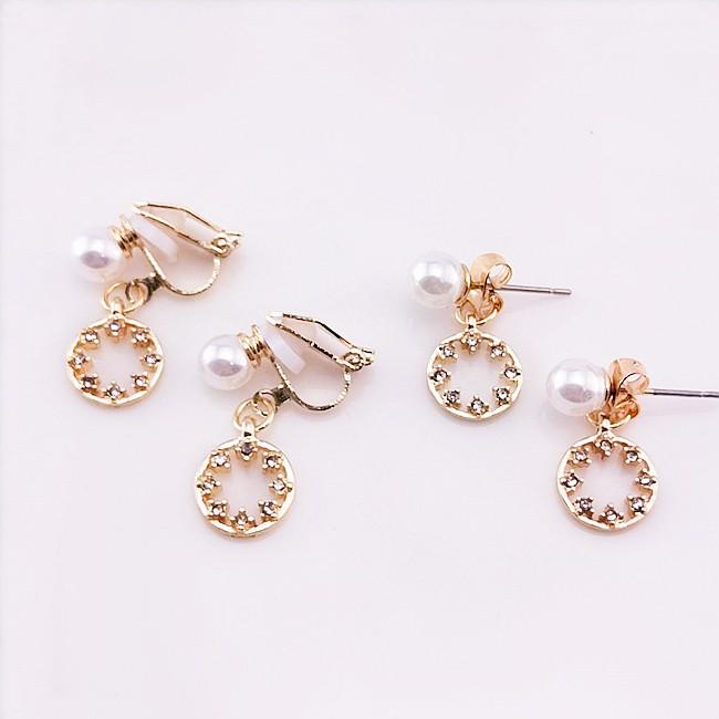 耳環 韓國少女魔法幾何星星珍珠水鑽後掛耳環 夾式耳環 K93187 批發價 Danica 韓系飾品 韓國連線