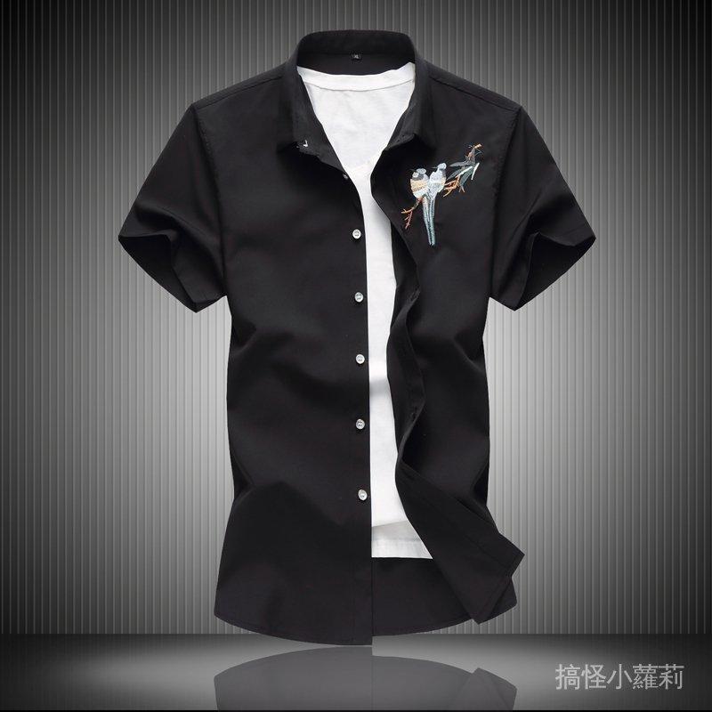 中國風男裝圖案刺繡花襯衫男短袖休閒寬鬆加肥加大碼夏季胖子襯衣 GddN