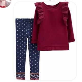 👚👖全新~Carter's卡特 套裝 二件式 深紫色T恤上衣+藍色小花長褲內搭褲,5T 新北市