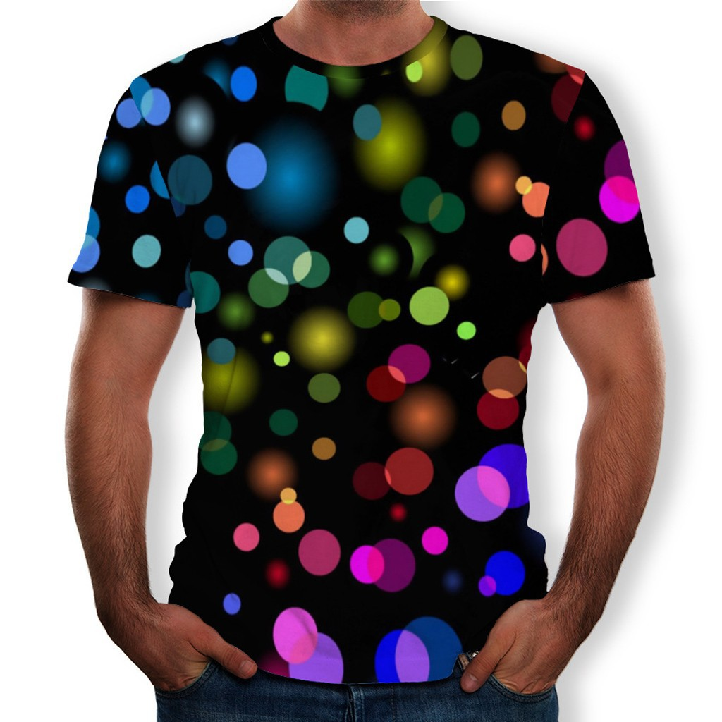 男士3D打印的搞笑圓領短袖時尚T恤上衣T卹男生衣服短袖t恤