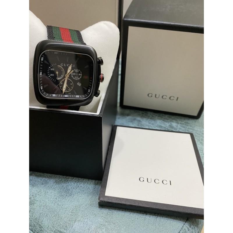 Gucci 潛水錶 碳纖維 三眼 經典色 計時 帆布錶帶 石英錶帶 ya131202