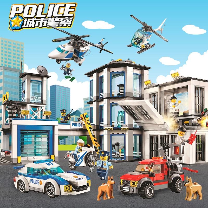 兼容樂高玩具男孩拼裝積木城市系列警察局消防車飛機警船禮物套裝