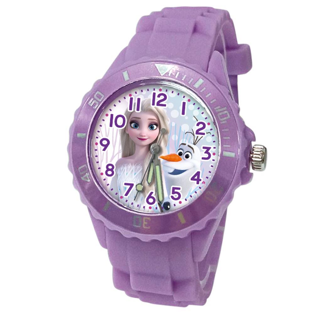 【Diseny迪士尼】冰雪美人 運動彩帶手錶(中型/紫)