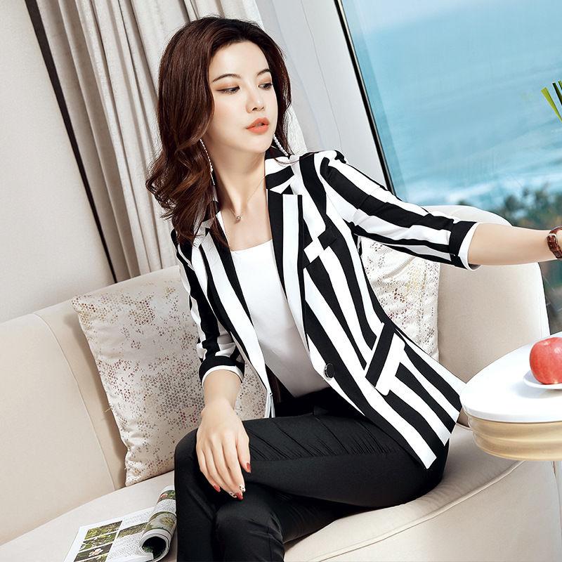 薄款網2021一粒扣短款西服外套大碼春夏新款紅小西裝條紋女黑白