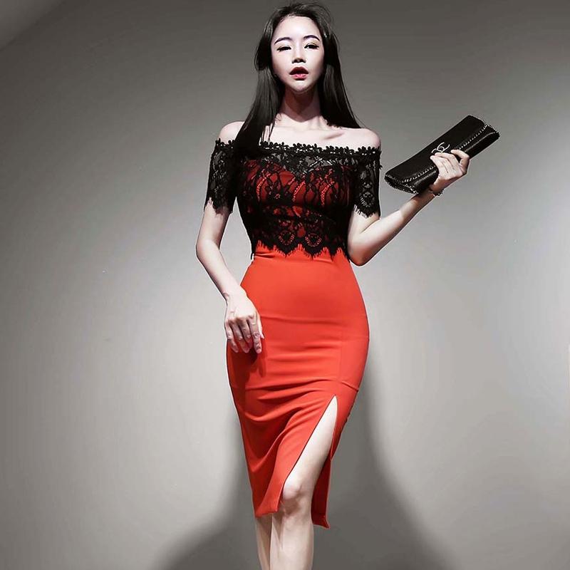 平口宴會洋裝紅色一字領開叉酒會禮服女生短袖撞色蕾絲平口性感中長連身洋裝
